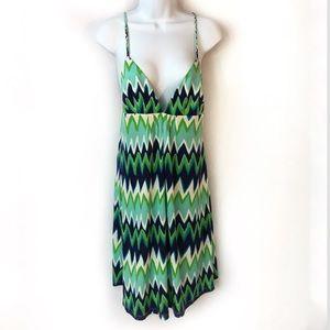 NWT JULIE BROWN 100% Silk S Empire Zig Zag Dress